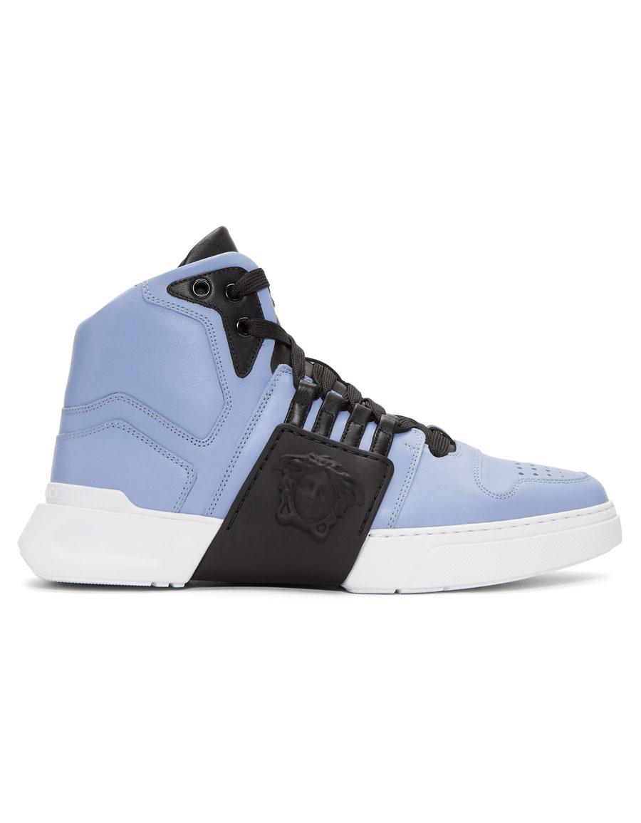 VERSACE Blue Medusa High-Top Sneakers