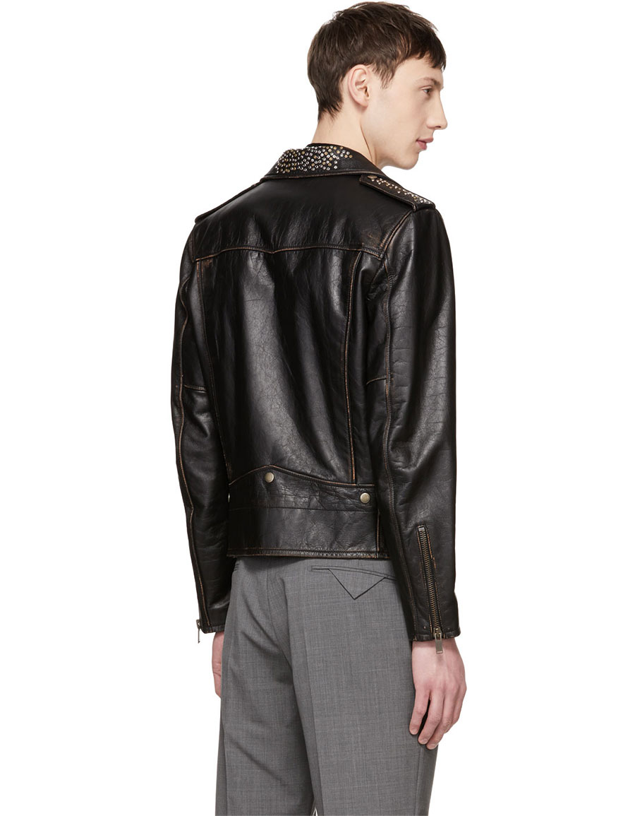 SAINT LAURENT Black Classic Moto Nail Studded Jacket