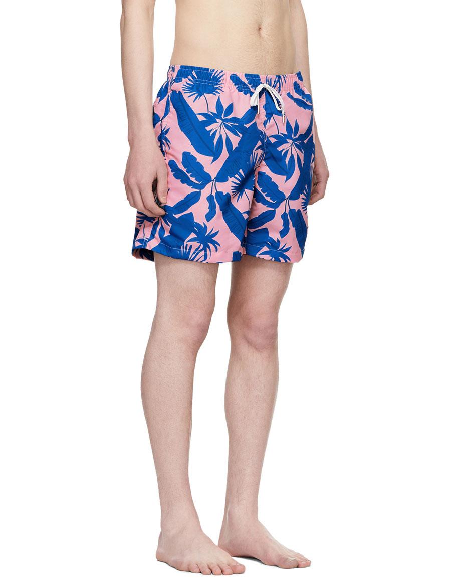 BATHER Pink & Blue Tropical Palms Swim Shorts