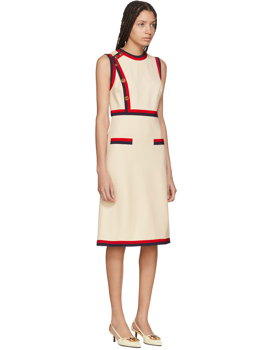 GUCCI Beige Sleeveless A Line Dress