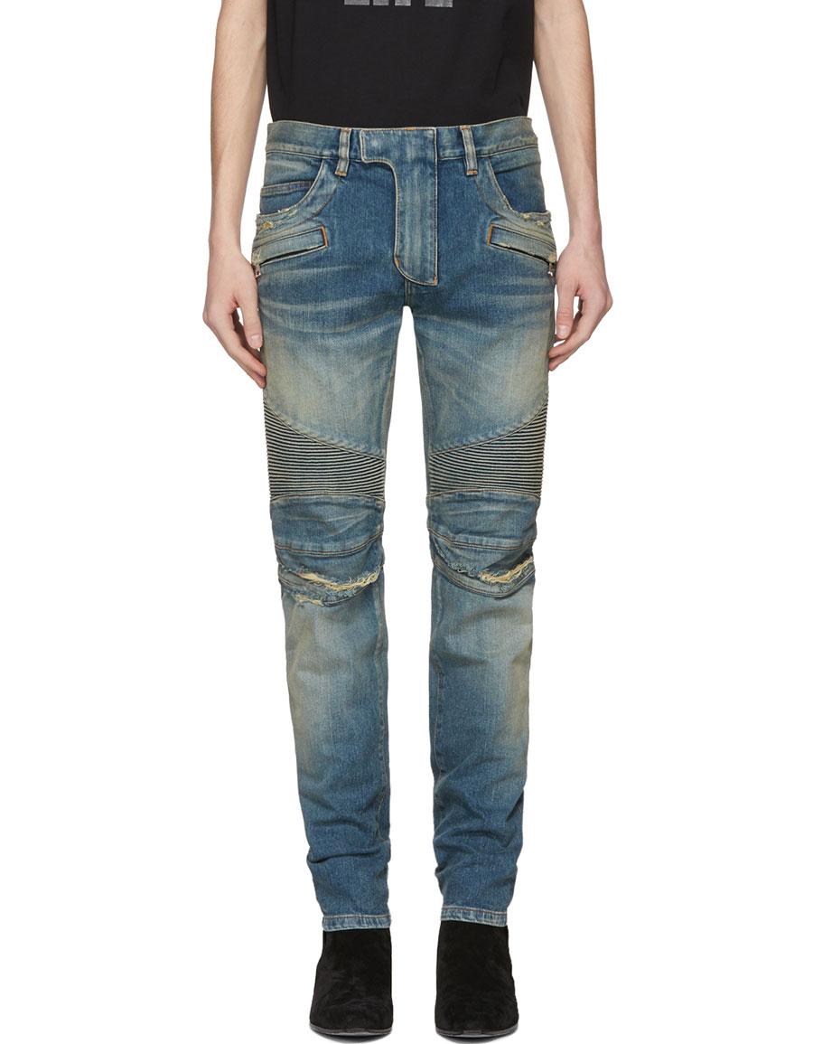BALMAIN Blue Distressed Biker Jeans