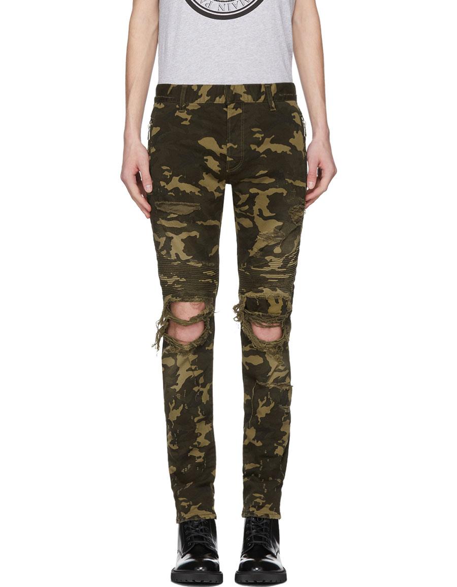 BALMAIN Khaki Camo Destroy Slim Jeans