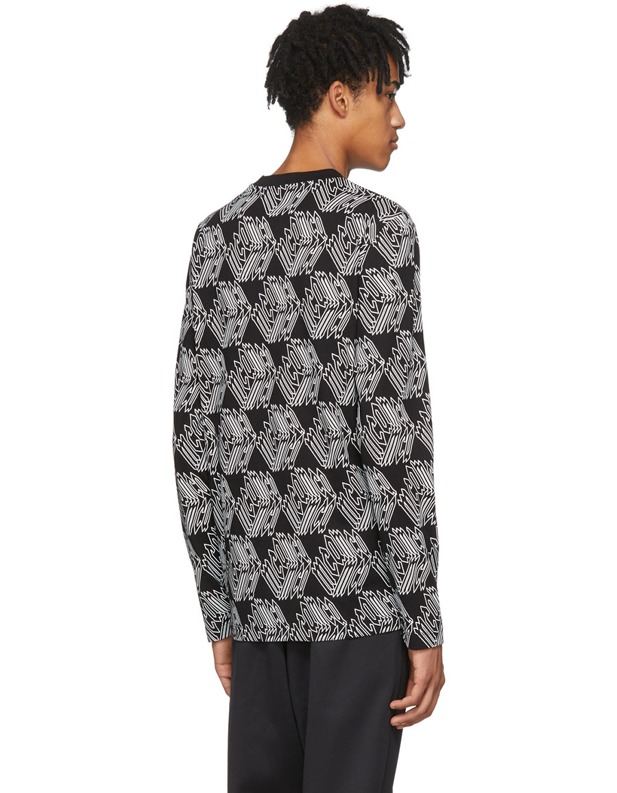 ALEXANDER MCQUEEN Black & White Long Sleeve All Over McQ Cube T Shirt