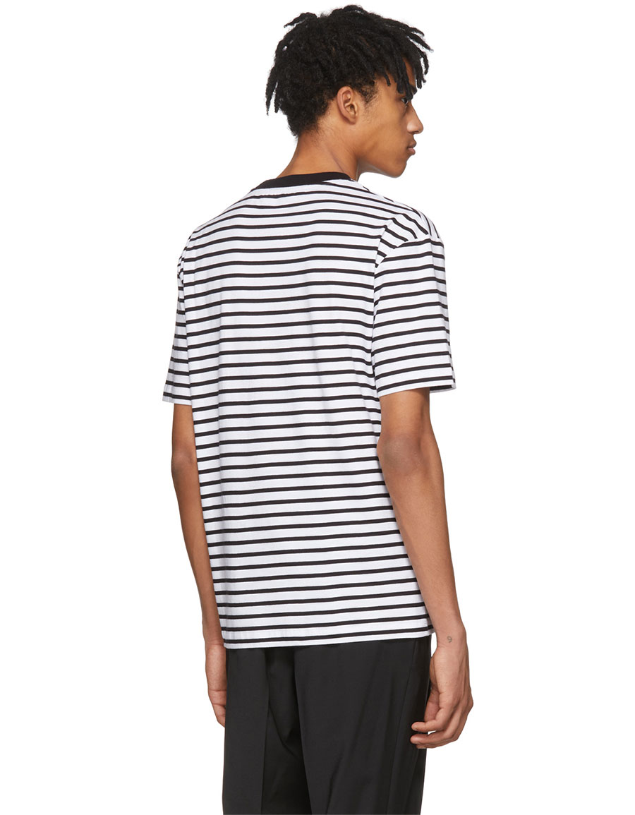 ALEXANDER MCQUEEN Black & White Striped 'Mad Chester' T Shirt