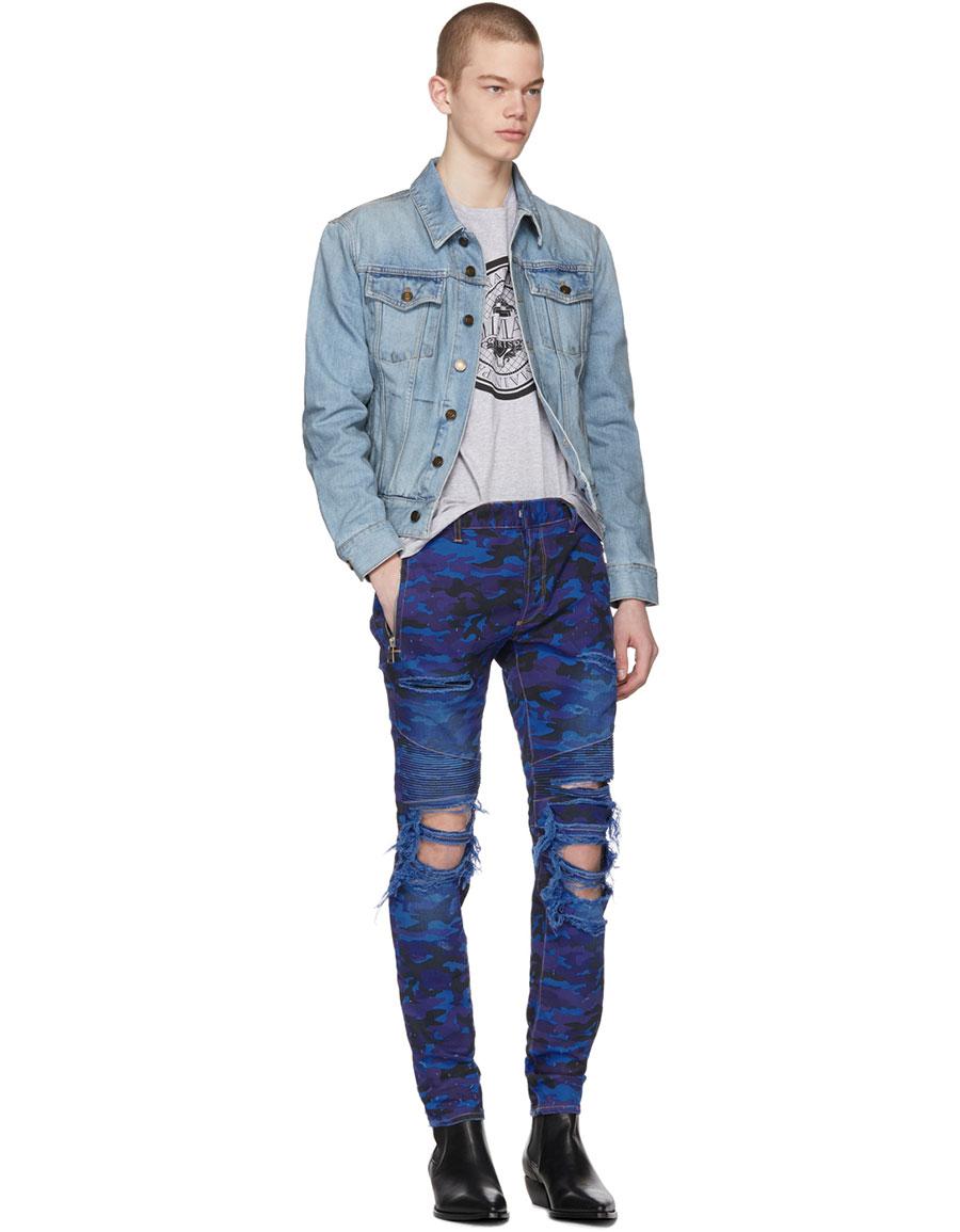 BALMAIN Blue Camo Destroy Slim Jeans