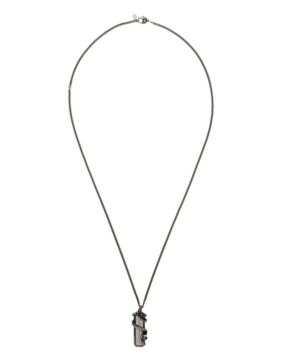 ALEXANDER MCQUEEN Silver Snake & Tag Necklace