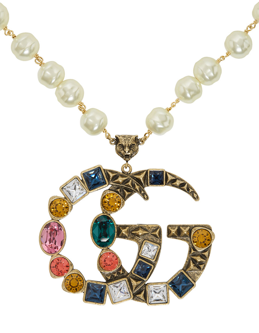 GUCCI Off,White Crystal Pearl Pendant Necklace · VERGLE