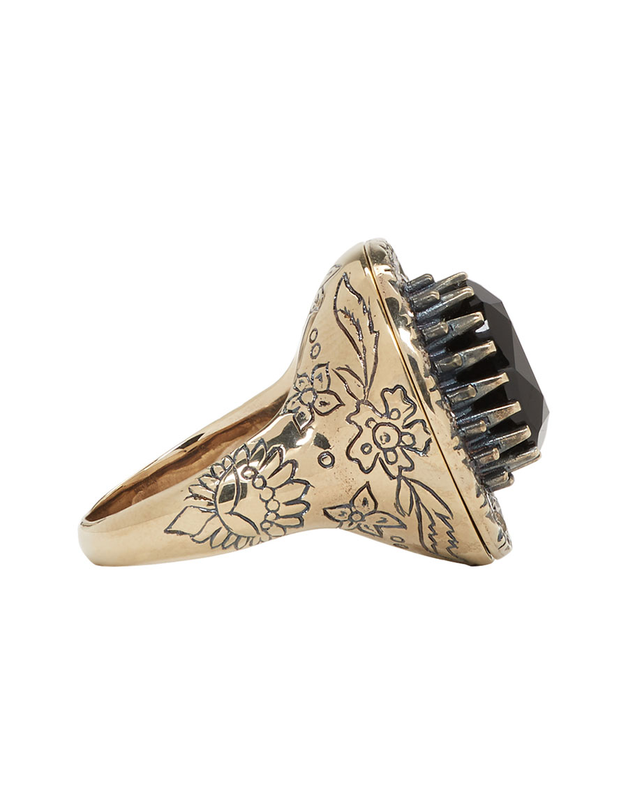 ALEXANDER MCQUEEN Gold & Black Jewelled Ring