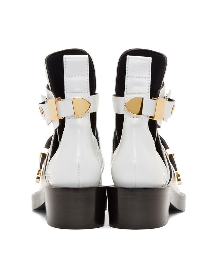 BALENCIAGA White Leather Buckle Boots