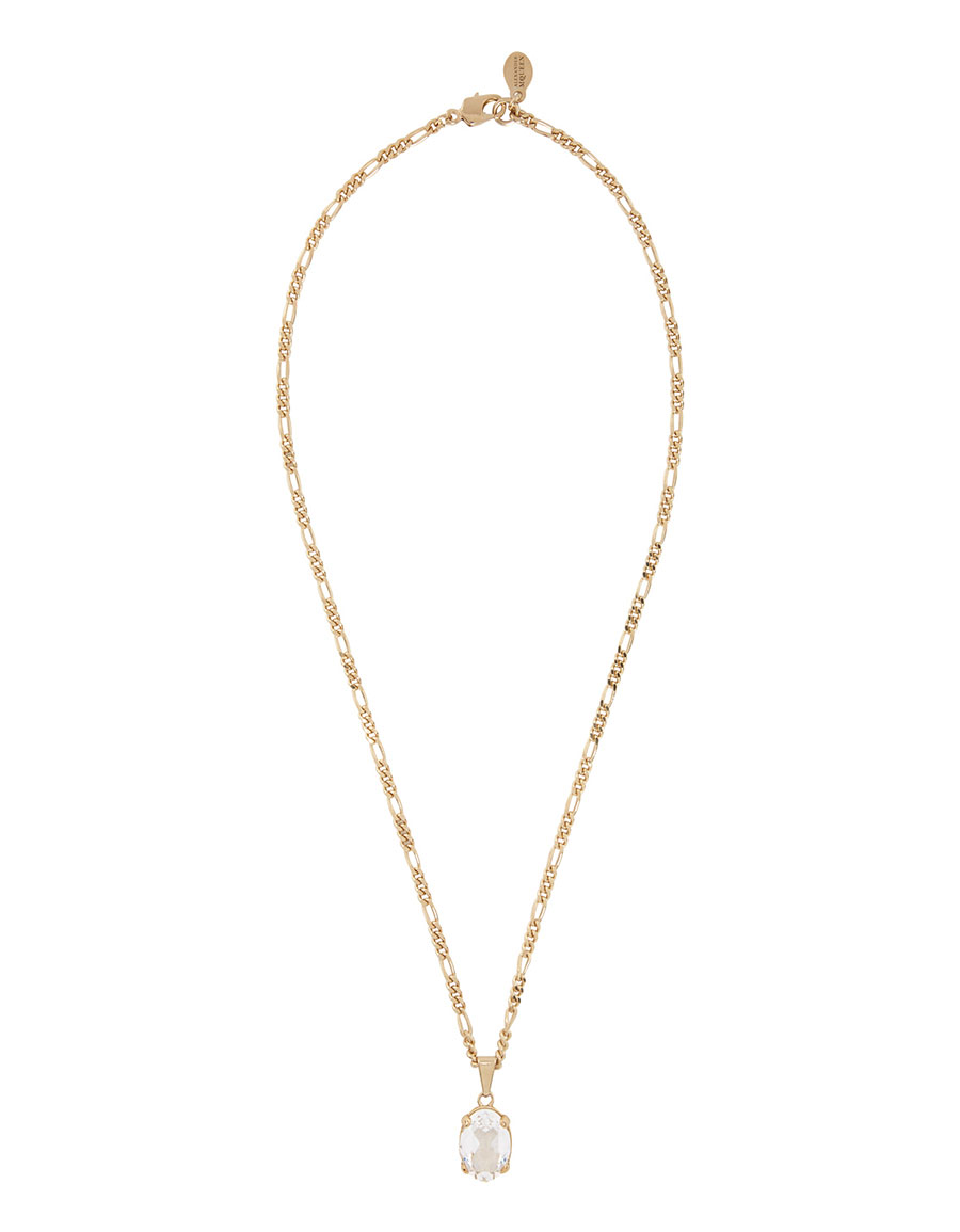 ALEXANDER MCQUEEN Gold Crystal Oval Pendant Necklace