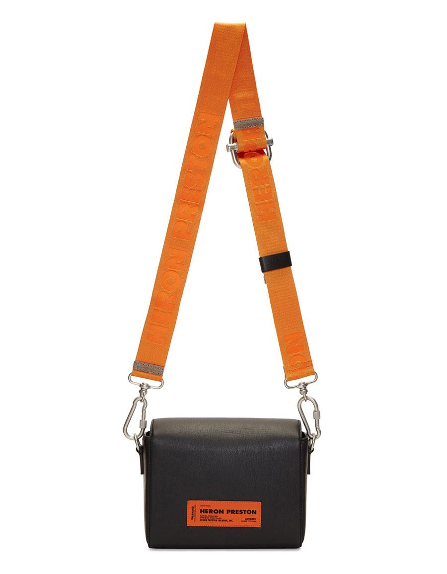 HERON PRESTON Black & Orange Leather Flap Bag