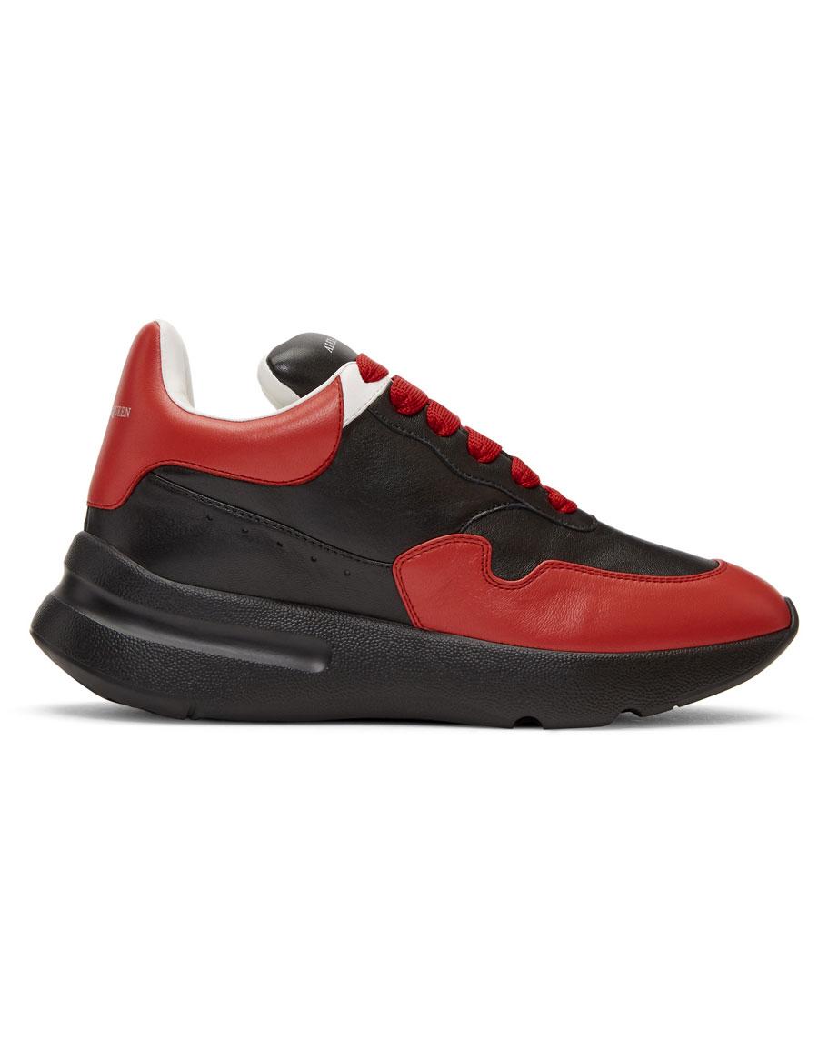 ALEXANDER MCQUEEN Black & Red Runner Sneakers