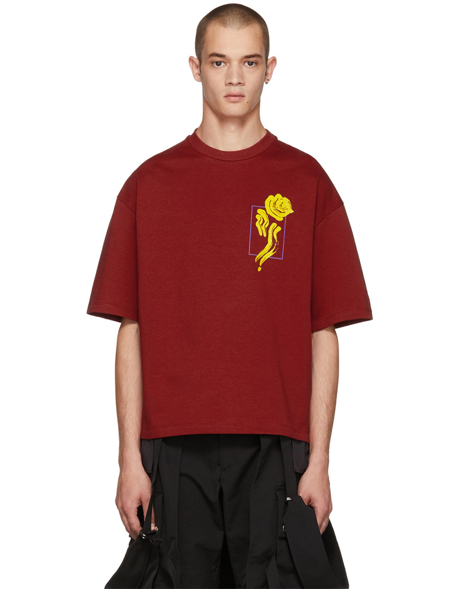 ALMOSTBLACK Red Flower T Shirt