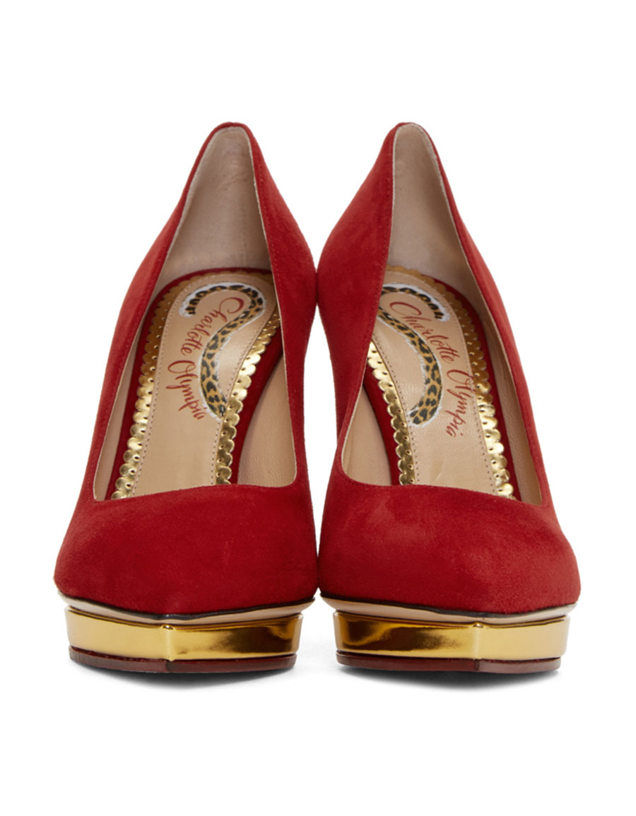 CHARLOTTE OLYMPIA Red Suede Debbie