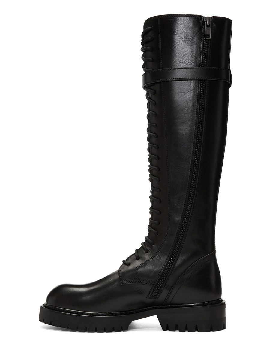 ANN DEMEULEMEESTER Black Tall Lace Up Boots