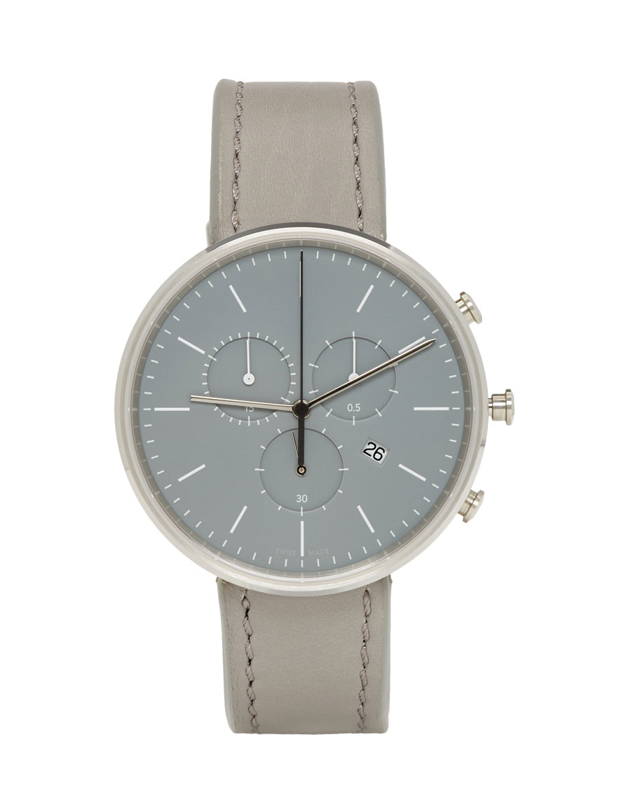 UNIFORM WARES SSENSE Exclusive Grey Leather M40 Chronograph Watch