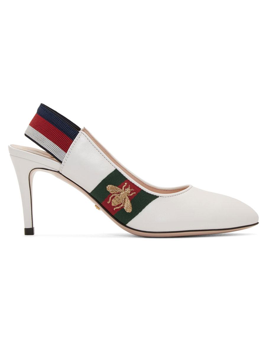 GUCCI White Sylvie Elastic Heels · VERGLE