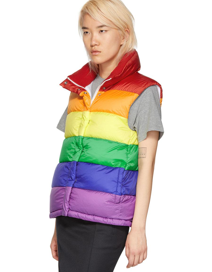 BURBERRY Multicolor Rainbow Puffer Down Vest