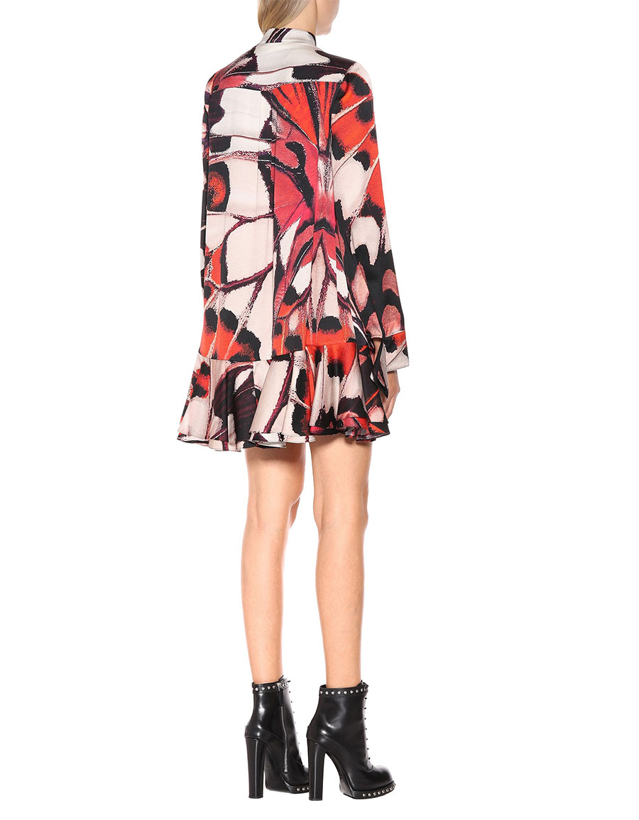 ALEXANDER MCQUEEN Butterfly printed silk satin dress