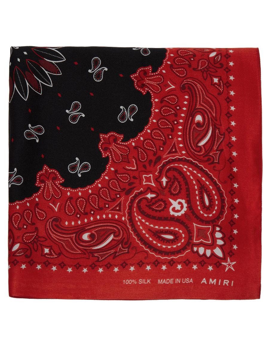 AMIRI Red & Black Silk Bandana Scarf