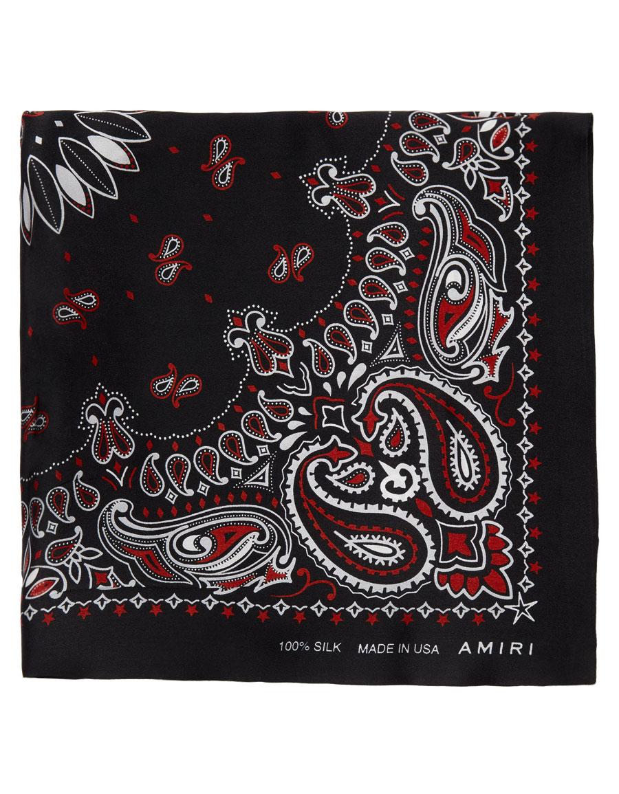 AMIRI Black Silk Bandana Scarf