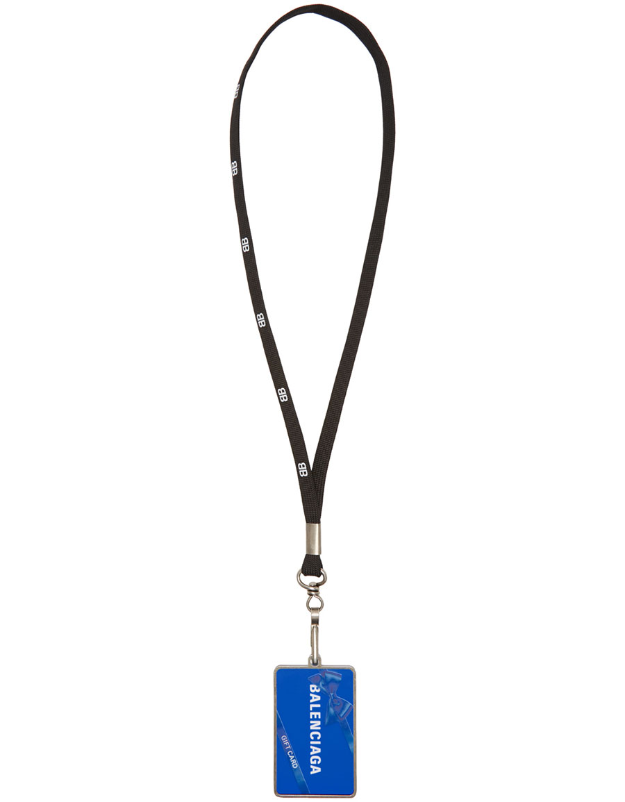 BALENCIAGA Black 'Gift Card' Badge Necklace