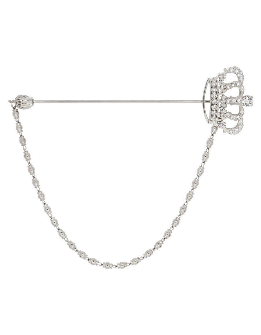 DOLCE & GABBANA Silver Crystal Crown Brooch