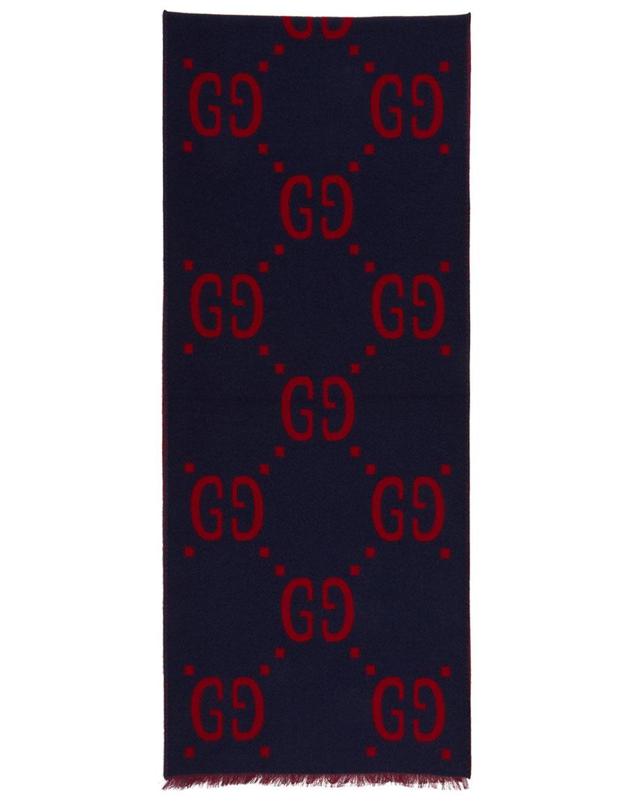 GUCCI Blue & Red 'Gucci Signature' Scarf