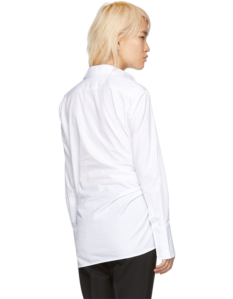 HELMUT LANG White Draped Poplin Shirt