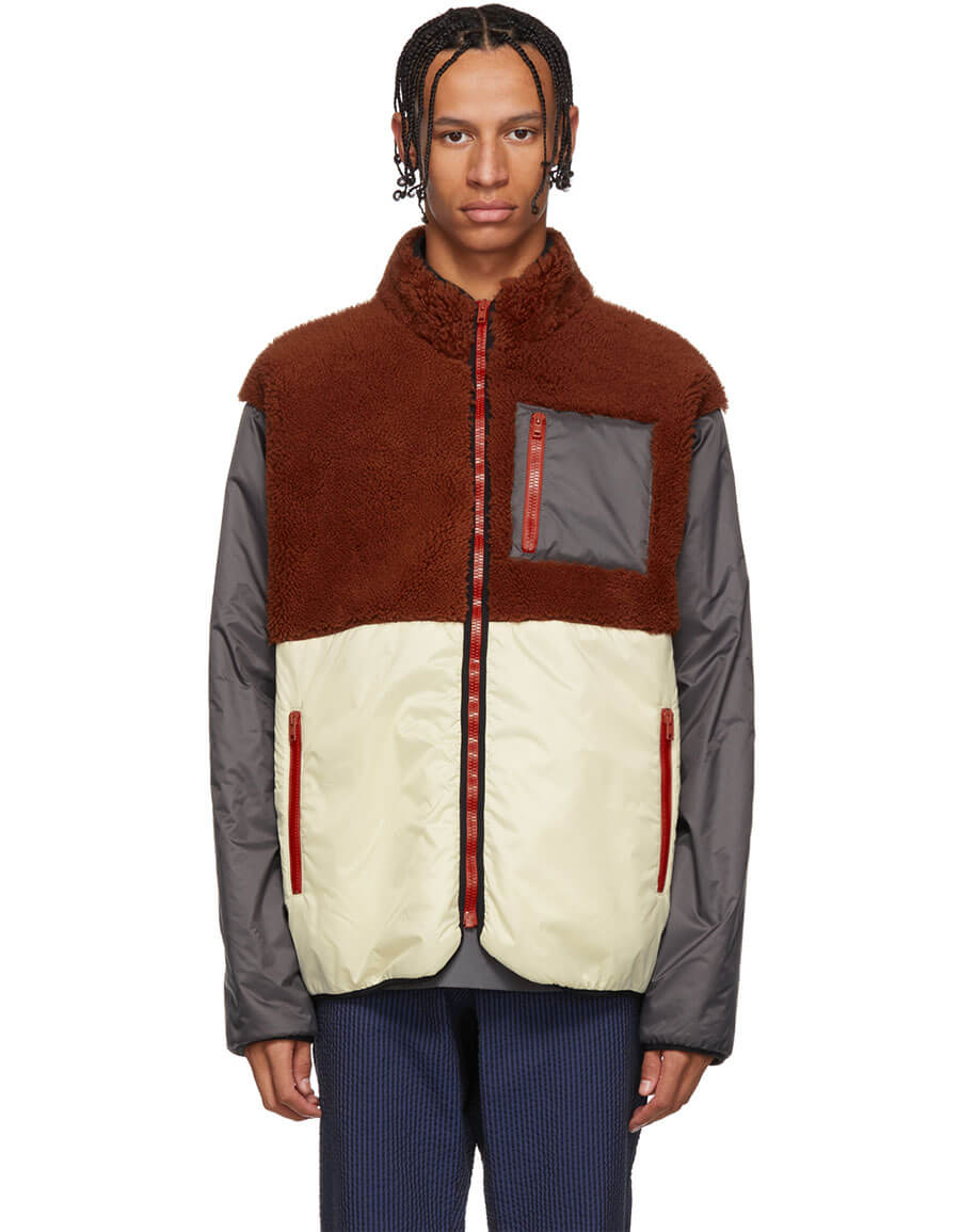 MARNI Off White & Grey Shearling Jacket