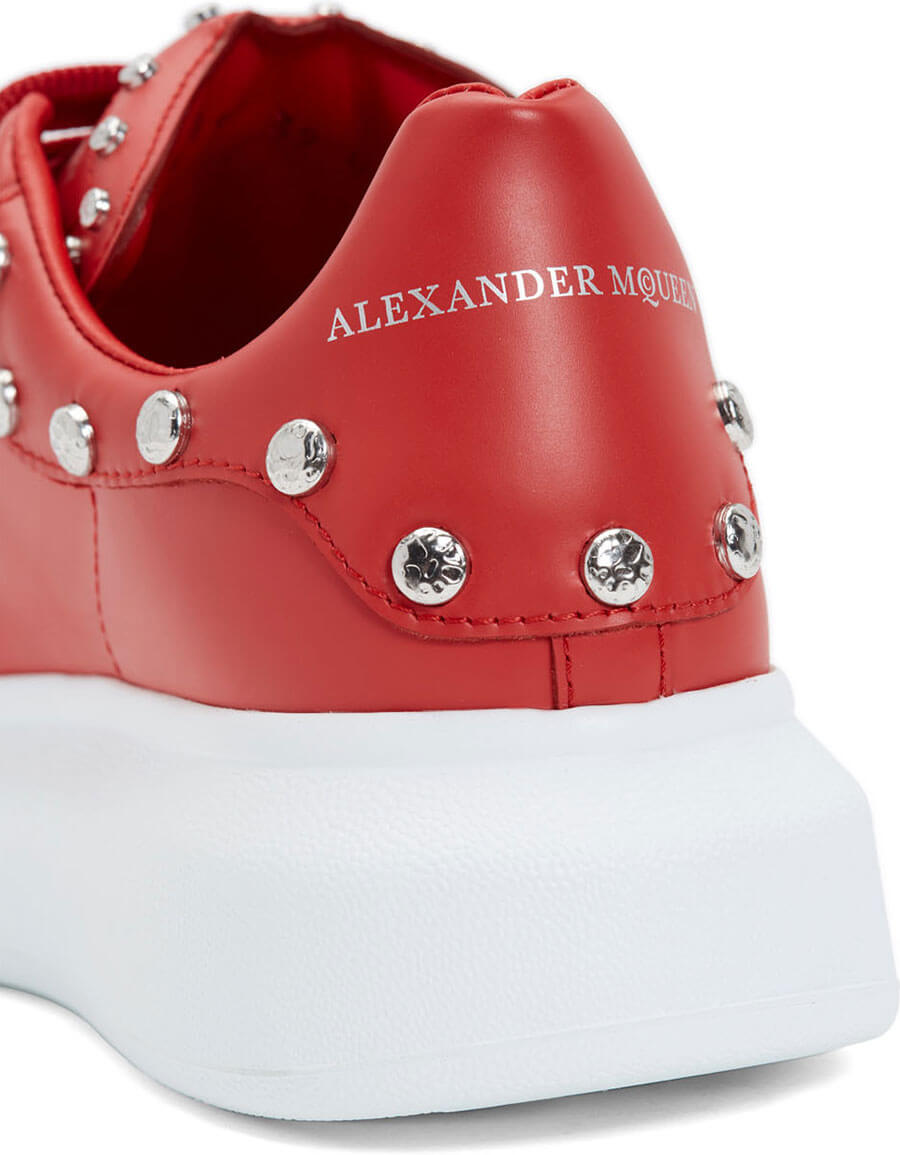 ALEXANDER MCQUEEN Red Studded Oversized Sneakers