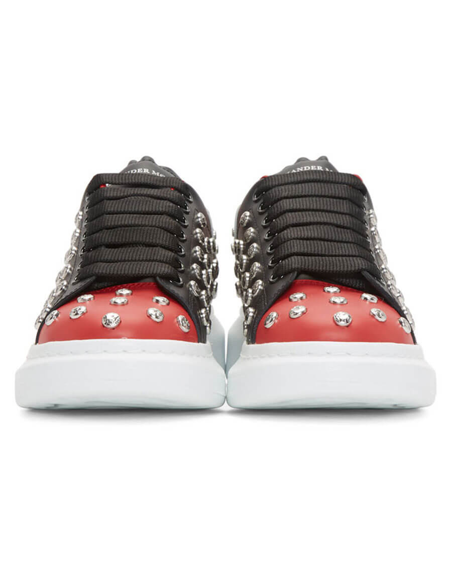 ALEXANDER MCQUEEN Black & Red Studded Oversized Sneakers