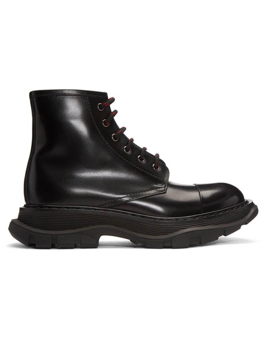 ALEXANDER MCQUEEN Black Tread Lace Up Boots