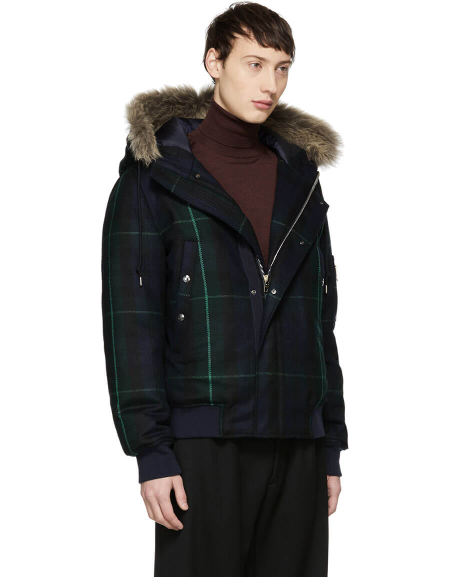 PAUL SMITH Green & Navy Tartan Down Jacket