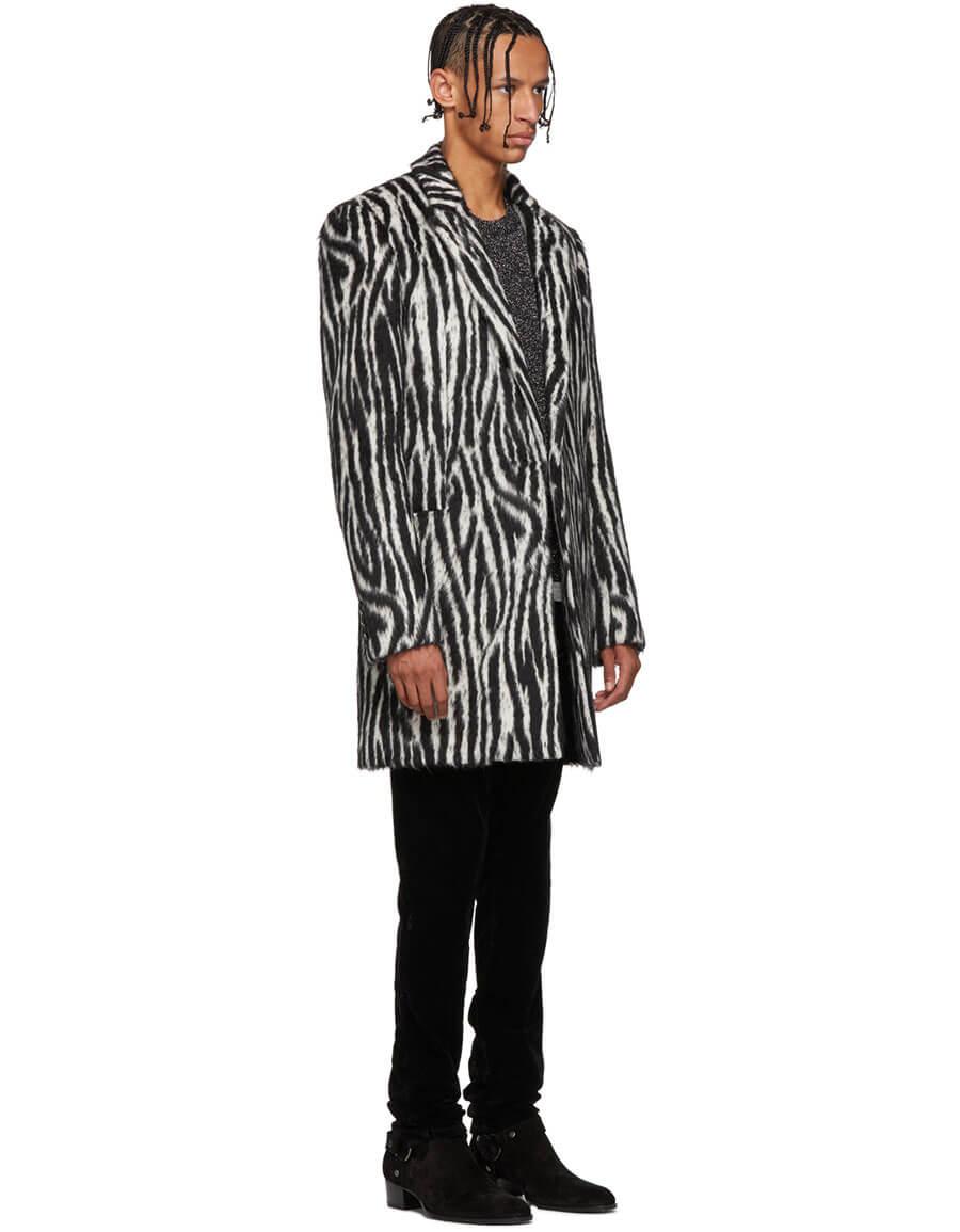 SAINT LAURENT Black & White Zebra Print Coat