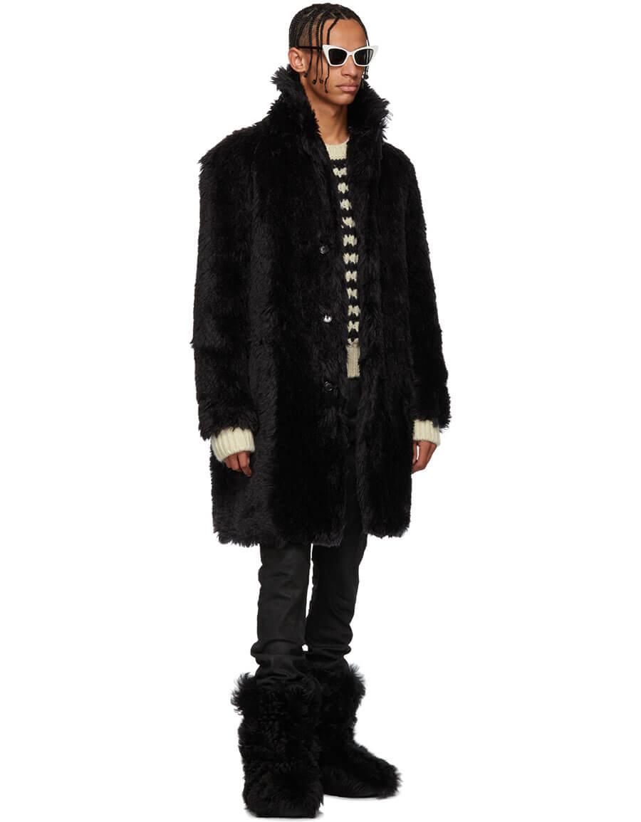 SAINT LAURENT Black Faux Fur Coat