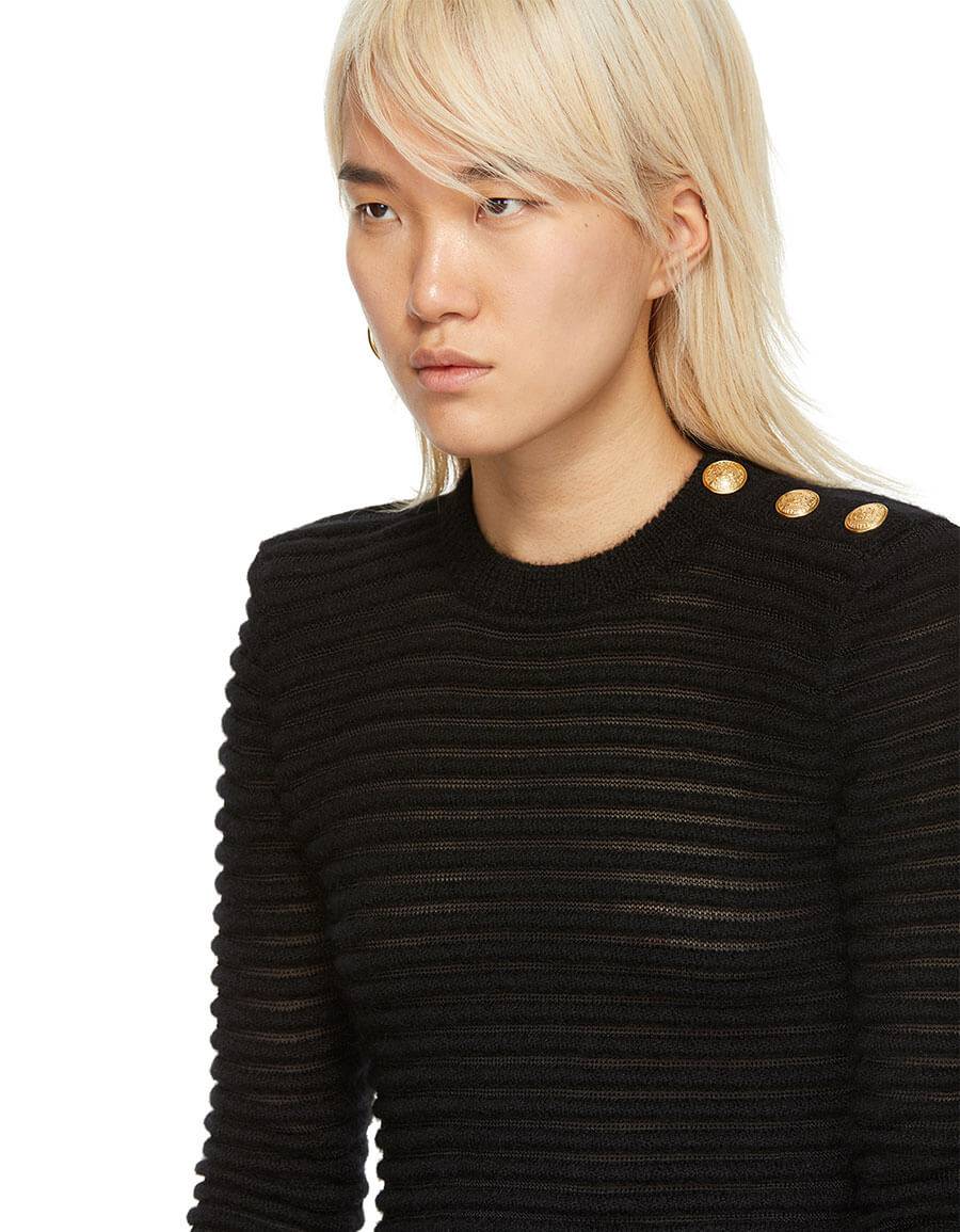 BALMAIN Black Mohair Ribbed Sweater