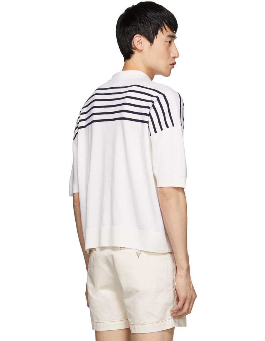 LOEWE White & Blue Wool Striped Polo