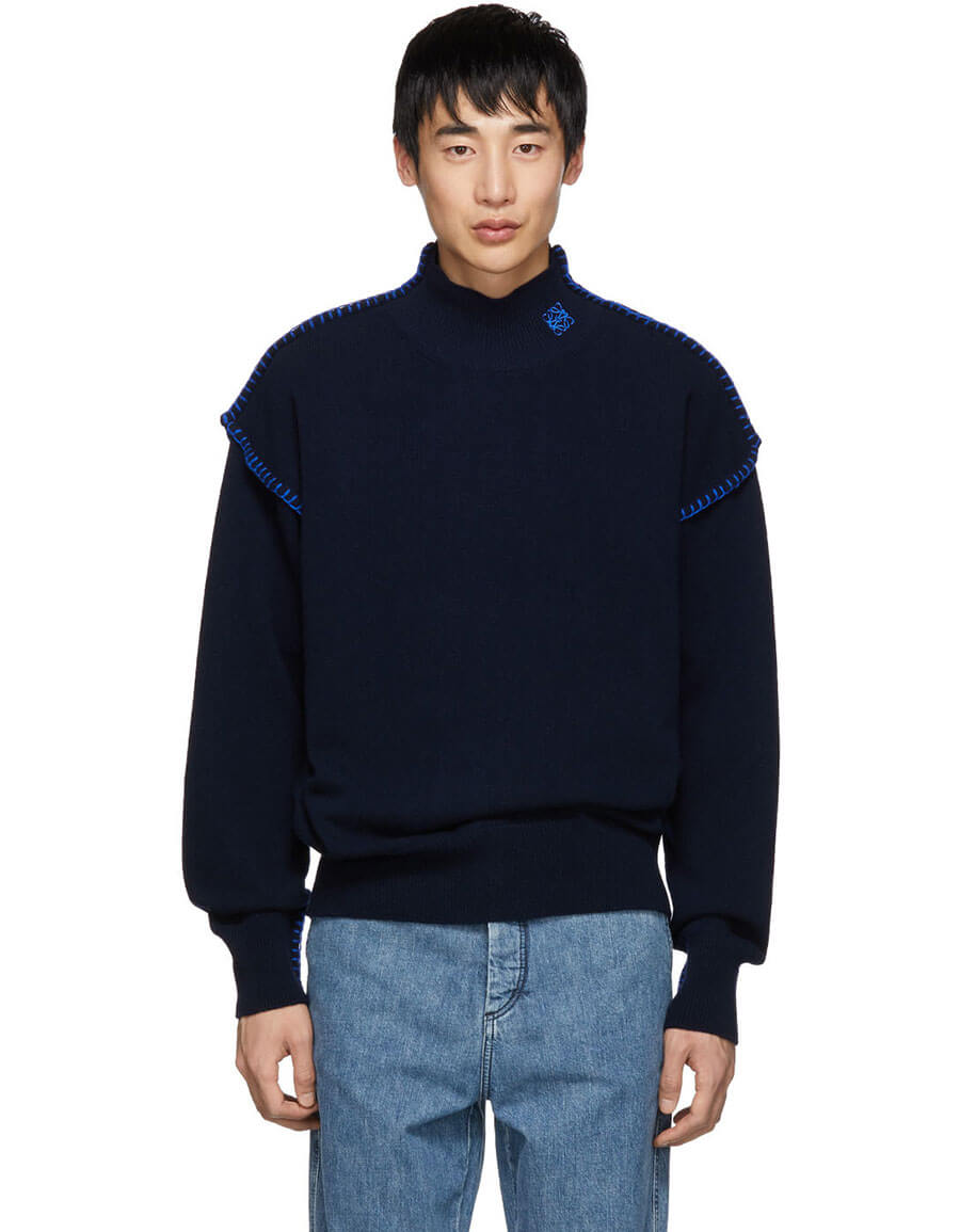 LOEWE Navy Blanket Stitch Turtleneck