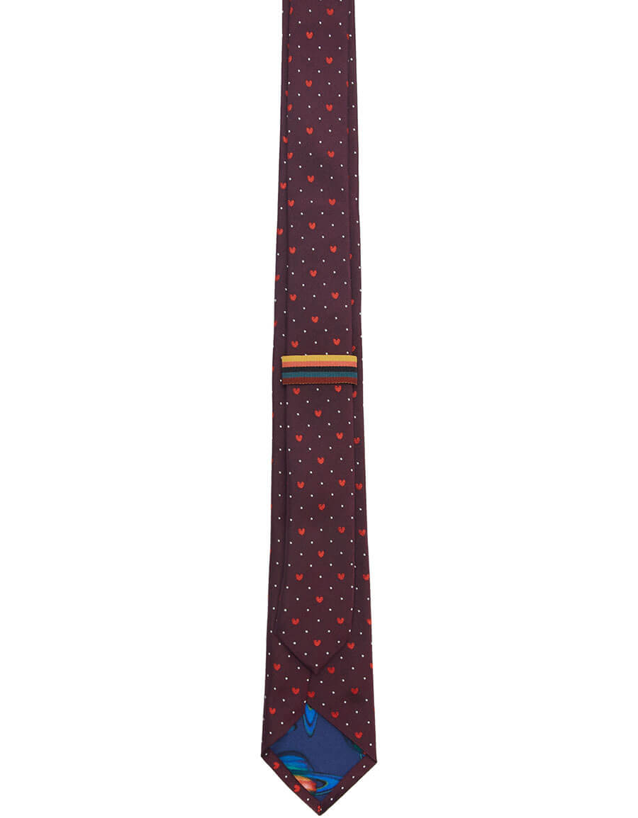 PAUL SMITH Burgundy Silk Heart & Dot Tie