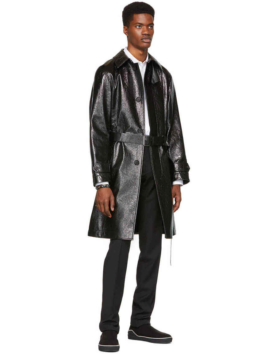 ALEXANDER MCQUEEN Black Shiny Leather Trench Coat