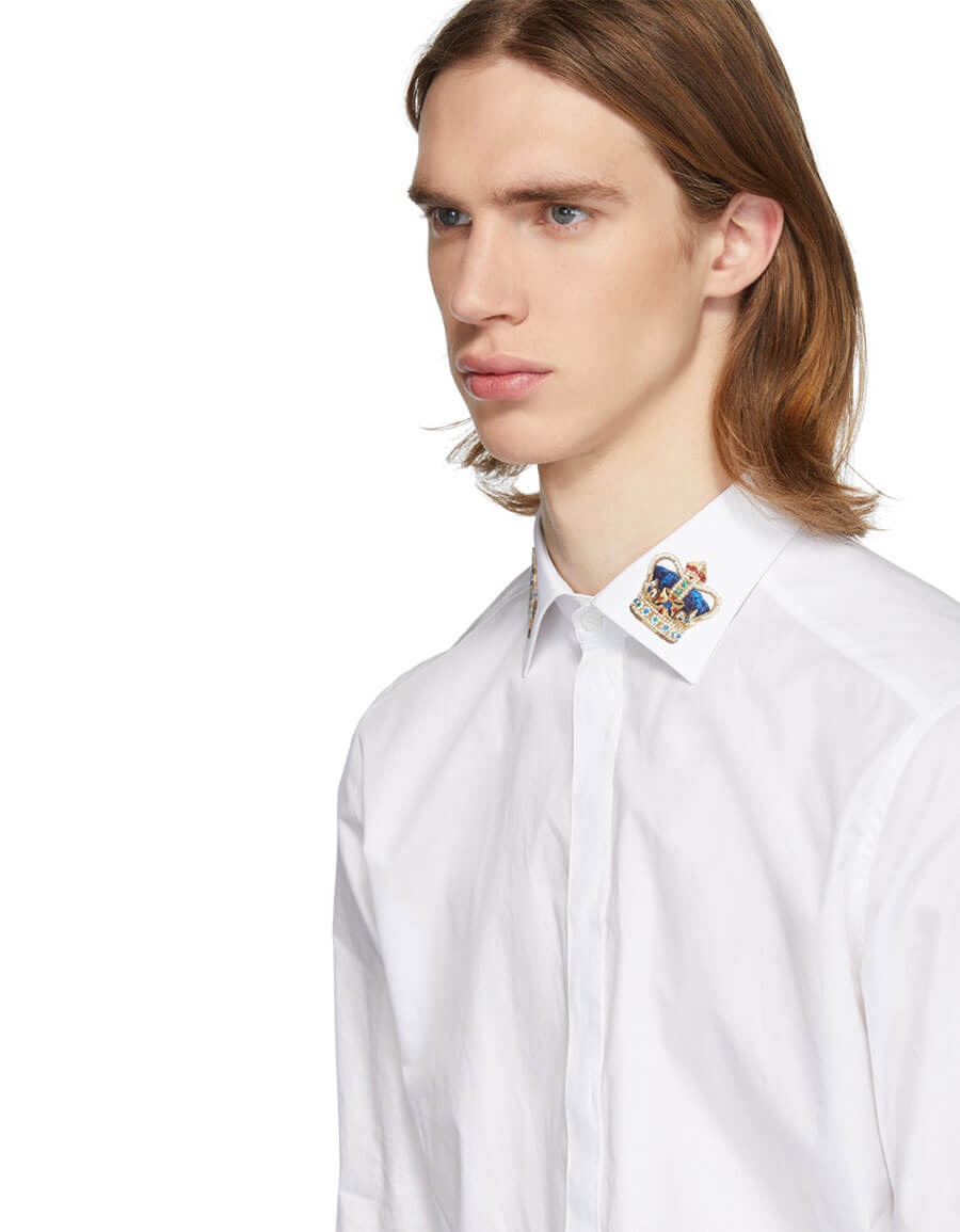 DOLCE & GABBANA White Crown Martini Fit Shirt