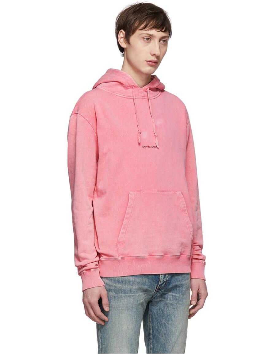 SAINT LAURENT Pink Rive Gauche Logo Hoodie