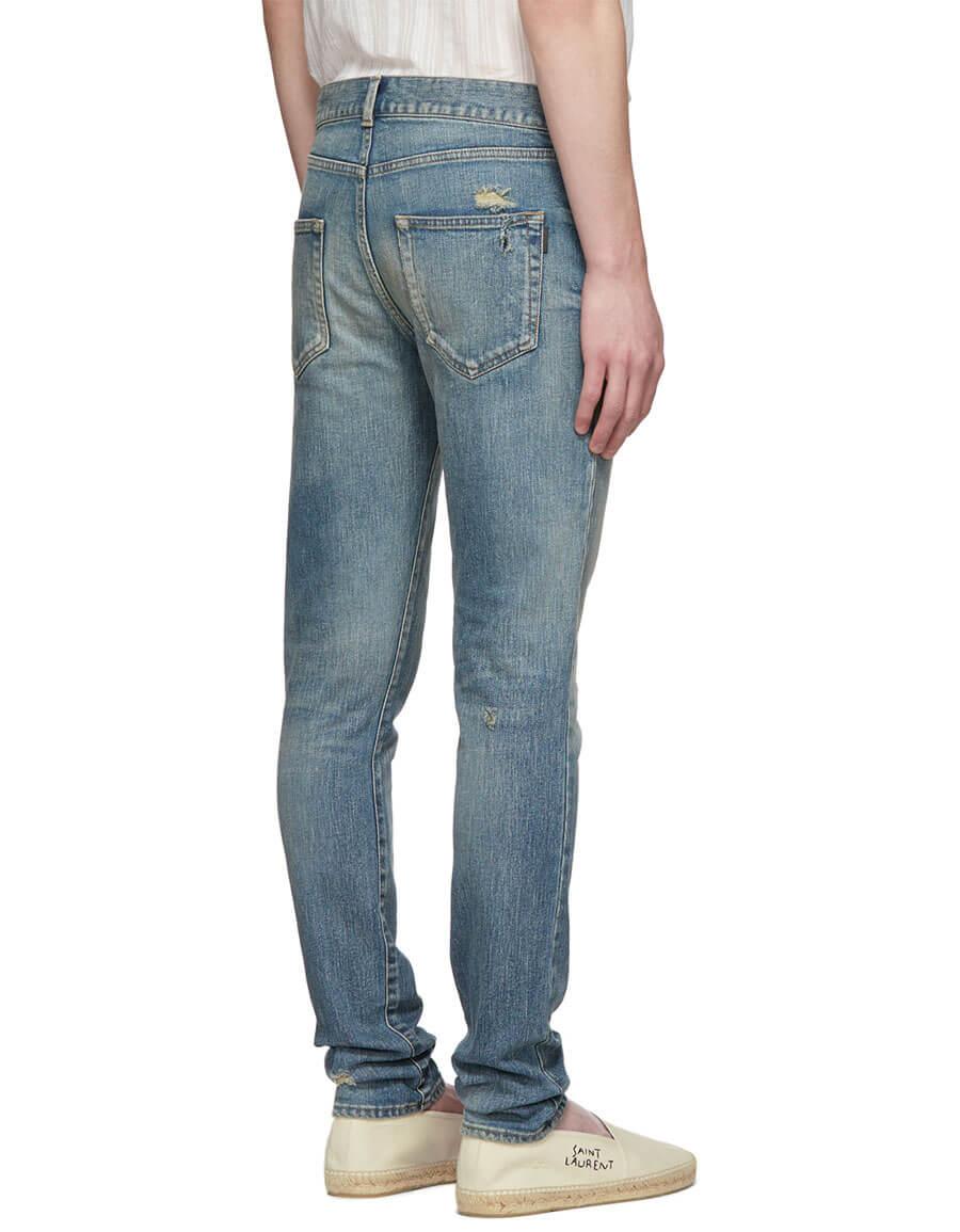 SAINT LAURENT Blue Low Rise Skinny Jeans
