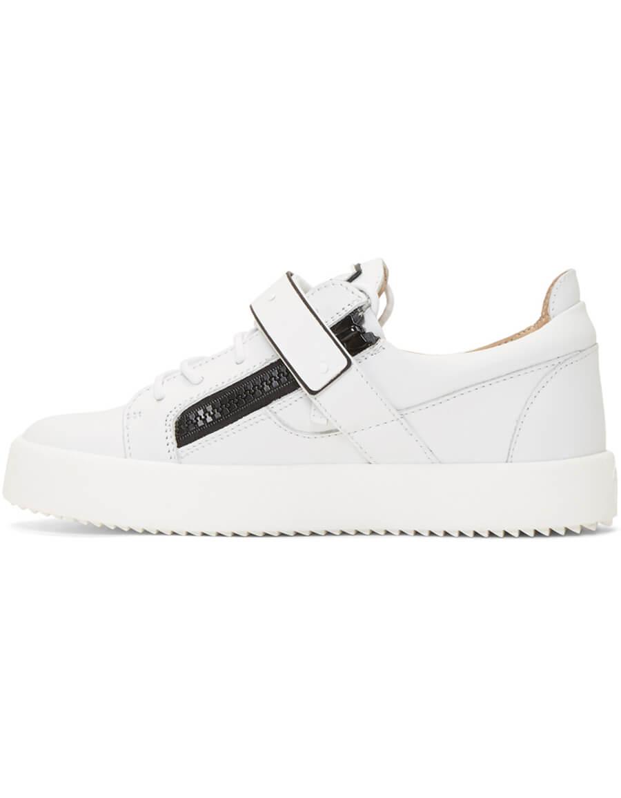 GIUSEPPE ZANOTTI White & Black Frankie 1/2 Sneakers