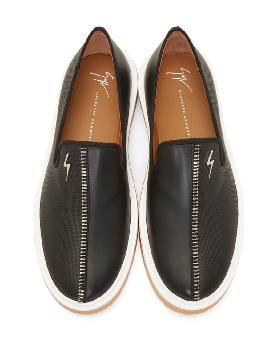 GIUSEPPE ZANOTTI Black Zip Hoffman Slip On Sneakers
