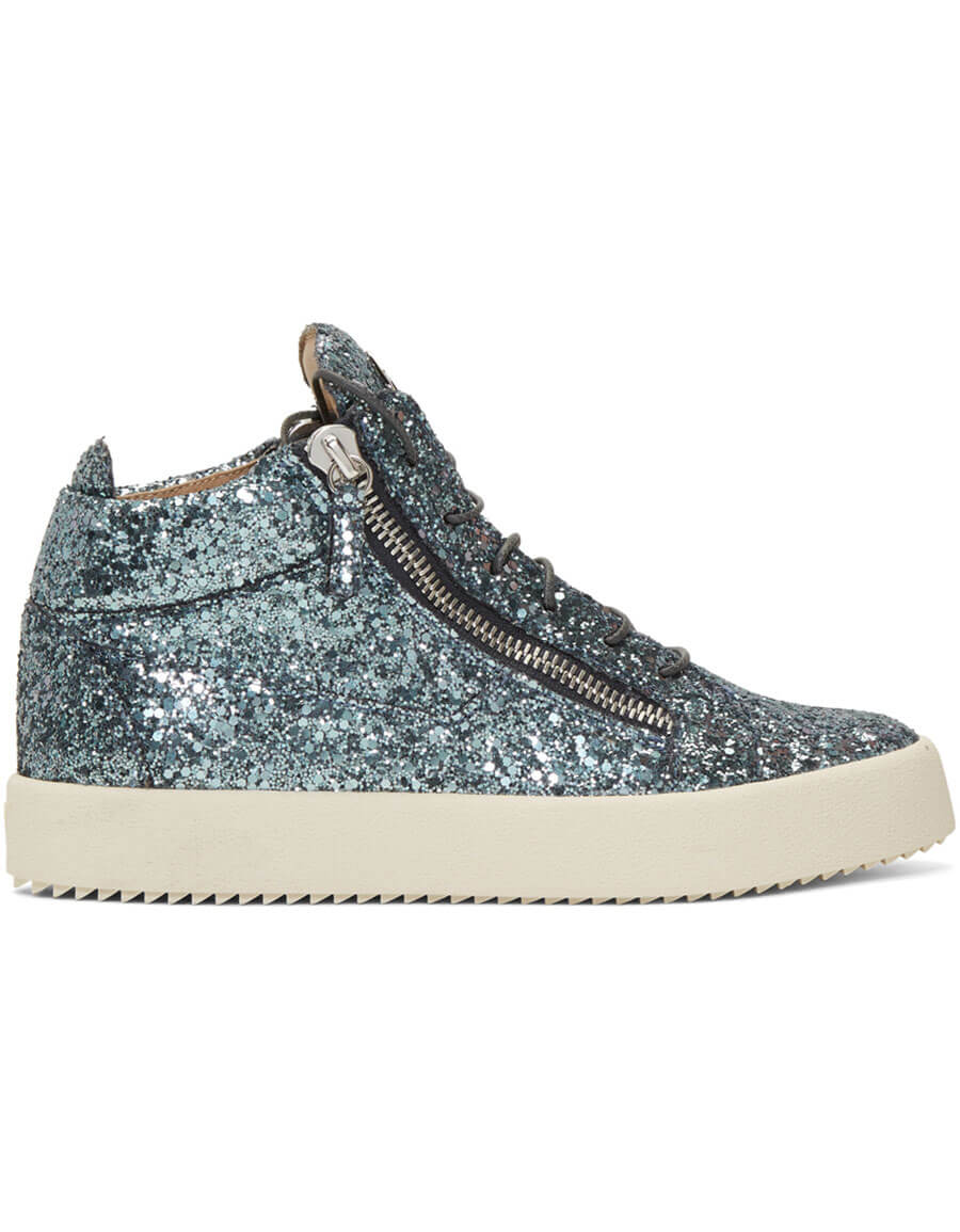 GIUSEPPE ZANOTTI Blue Glitter Kriss High Top Sneakers