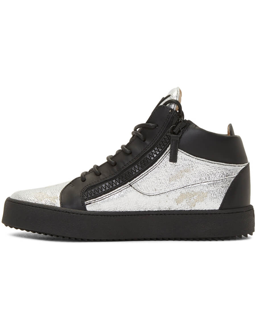 GIUSEPPE ZANOTTI Black & Silver Kriss High Top Sneakers