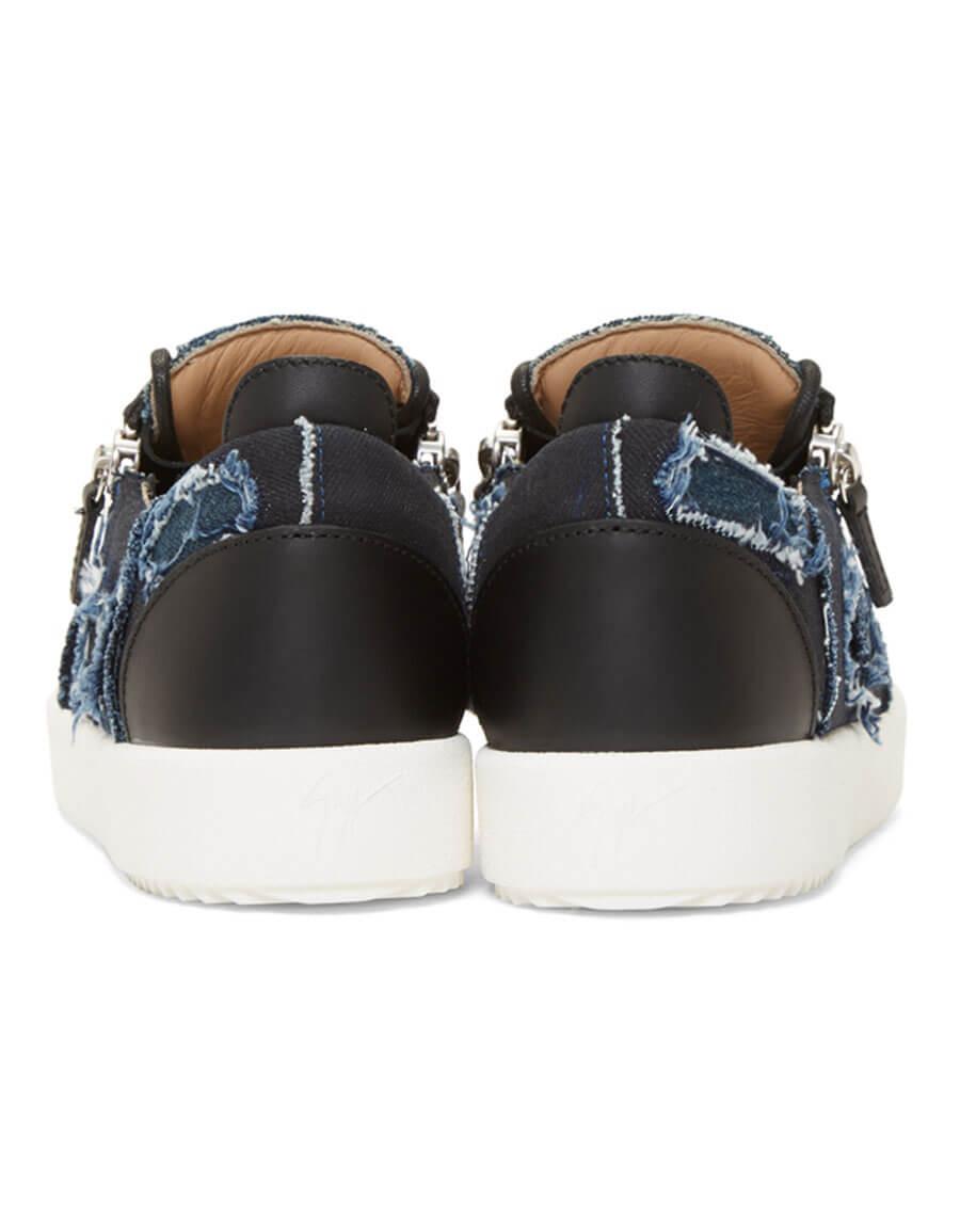 GIUSEPPE ZANOTTI Blue & Black Denim Frankie Sneakers