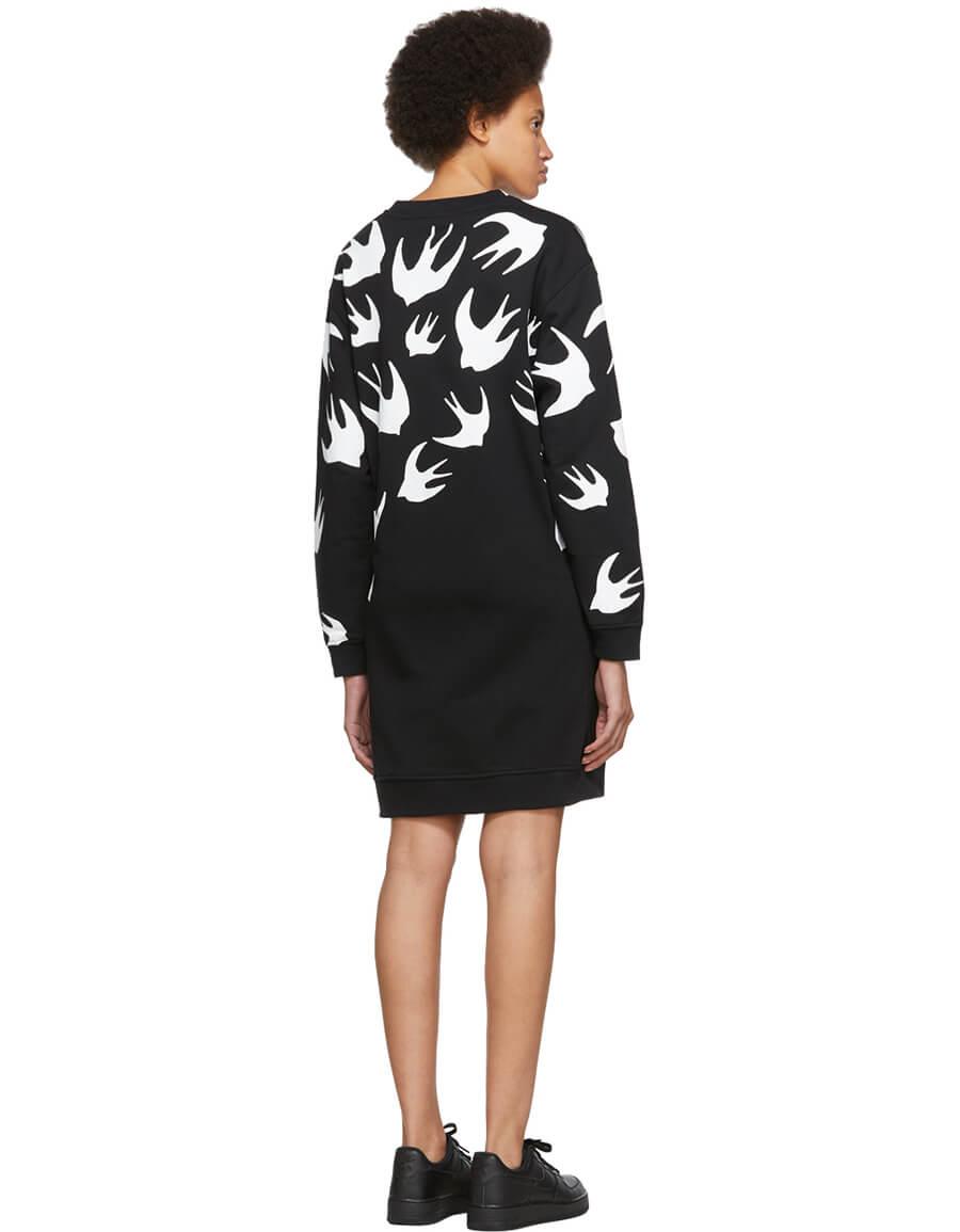 ALEXANDER MCQUEEN Black Swallow Signature Sweatshirt Dress